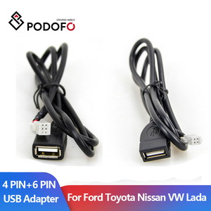 Podofo USB2.0 4Pin 6PIN USB Adapter Android Car Radio Data Charge Cable Adapter For Ford Toyota Nissan Volkswagen Skoda Lada
