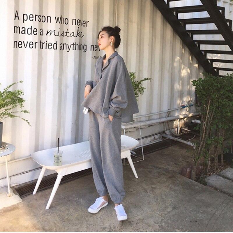 Autumn Women 2 Piece Set Pants Hoodies Tracksuit Sweatshirts Casual  Long Sleeve Solid Suit Female