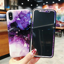 Marble pattern 360 Full Cover Phone Case Tempered Glass For iPhone XS Max X 8 7 6 6S Plus soft Silicone Protection