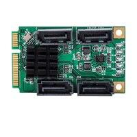 4 Ports SATA III 6Gbps Mini PCIE PCI Express 88SE9215 Controller Card SATA 3.0 Mini PCI E Hard Disk SSD Adapter Extension Card