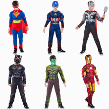 I bambini Supereroe Costume Cosplay Ragazzi Captain America Superman Batman Iron Man Hulk Thor Flash Spider Cosplay Costume di Halloween(China)