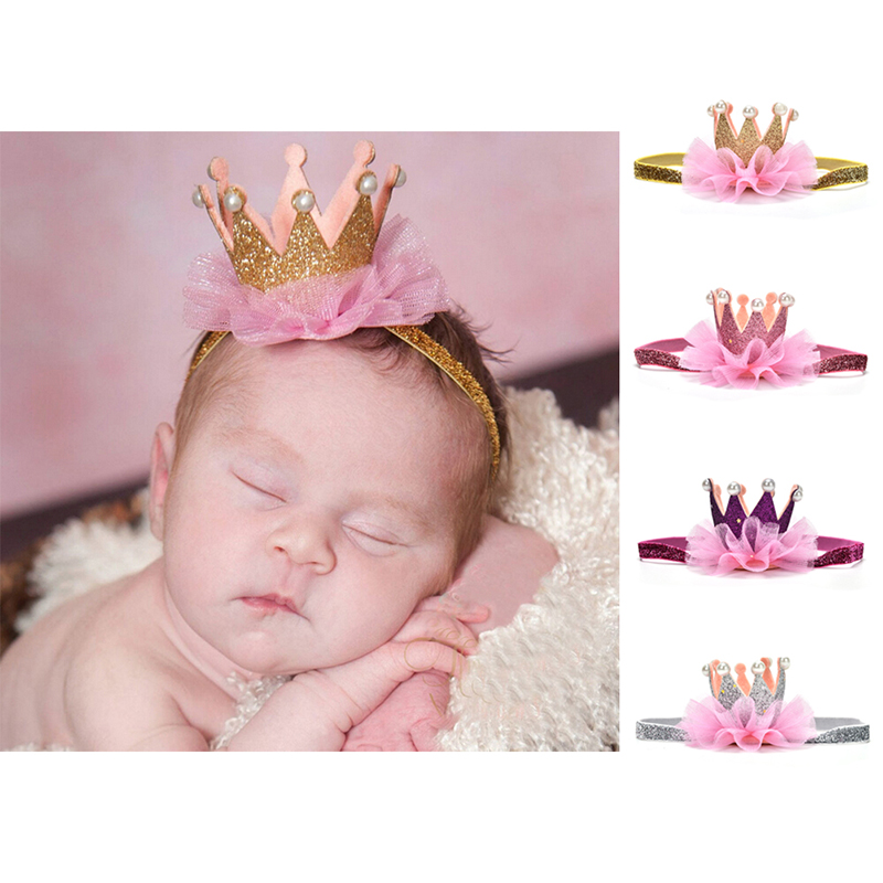 Newborn Crown Headband Gold Princess Pearl Crown Baby Girls Cute Hair Band Children Photo Props Infant Kids Hair Accessories