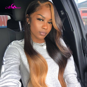 Ali Coco #4/27 Highlight Color Human Hair Wig Brazilian Remy Hair Lace Front Wigs Preplucked Body Wave Wigs For Women