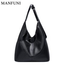 Luxury Women Handbag 100% Genuine Leather Soft Skin Lady Casual Tote Black Hobo Bag Big Capacity Shoulder Bags Purse Shopping shaggy deer 37cm mid top quality genuine leather 100% soft sheepskin fala stella shopping tote luxury classical chain bag