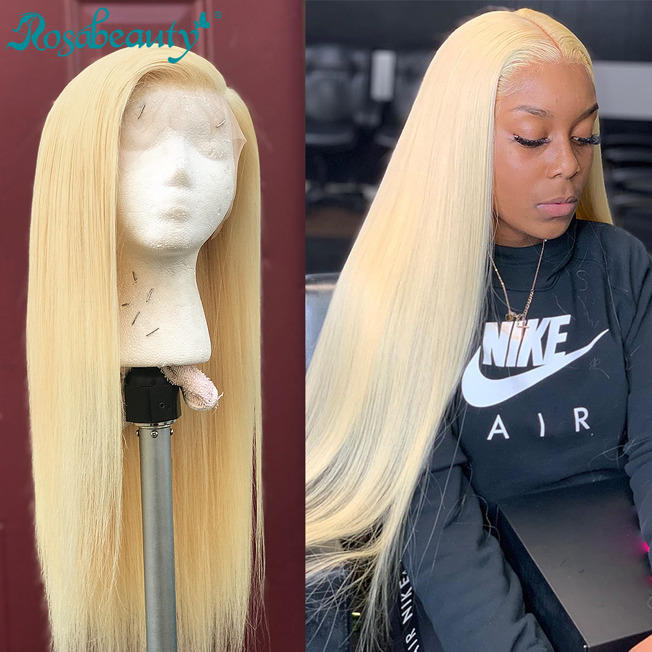 Rosa beauty 8-26 613 Transparent Lace Front Human Hair Wigs 13x4 Brazilian Straight Remy Blonde Frontal Wigs For Black Women image