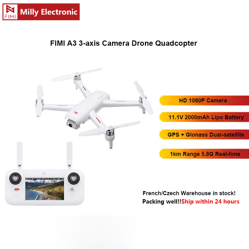 FIMI A3 Camera Drone 5.8G GPS A3 Drone 1KM FPV 25 Mins 2axis Gimbal 1080P Camera RC Quadcopter Drone Accessory Kit