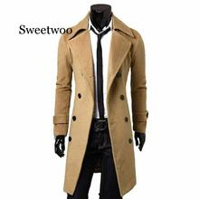 Men Jacket Warm Winter Trench Coat Long Outwear Button Overcoat Male Casual Windbreaker Overcoat Jackets coats Wool