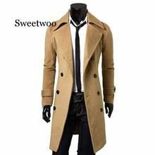 Men jacket warm winter trench coat long outwear button overcoat