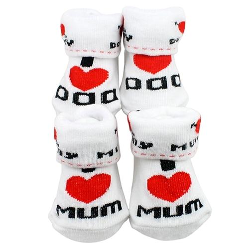 1Pair Newborn Baby Infant Boys Girl Cotton Slip-resistant Floor Socks Love Mom/Dad Pattern Suitable 0~6 Months Toddler 4