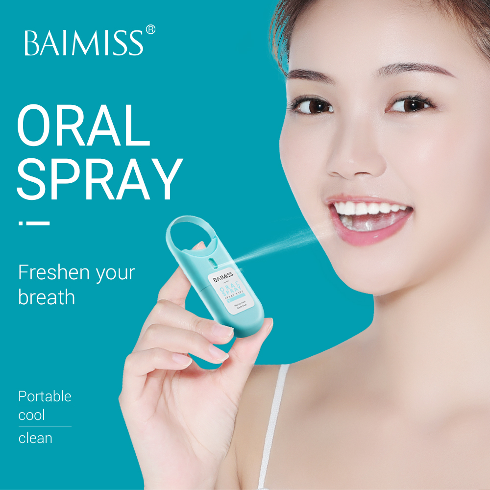 BAIMISS Oral Spray Natural Herbal Mouth Freshener Sorbitol Xylitol Glycerin Menthol Ulcers Toothache Bad Breath Treatment