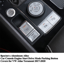 8pcs/set Car Console Engine Start Park EPB Drive Mode Button Cover Sticker Decoration Accessory for VW Atlas Teramont 2017 2020