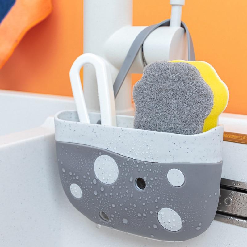 Kitchen Sink Shelf Soap Sponge Drain Rack Bathroom Hanging Storage Holder Basket