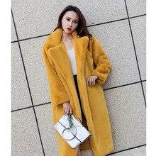 ZADORIN новая на меху обувь на платформе из искусственного кроличьего меха; пальто Роскошная длинная куртка C мехом, длинный рукав, с отворотом, толстые Теплые; больших размеров Размеры зимнее пальто женское пальто