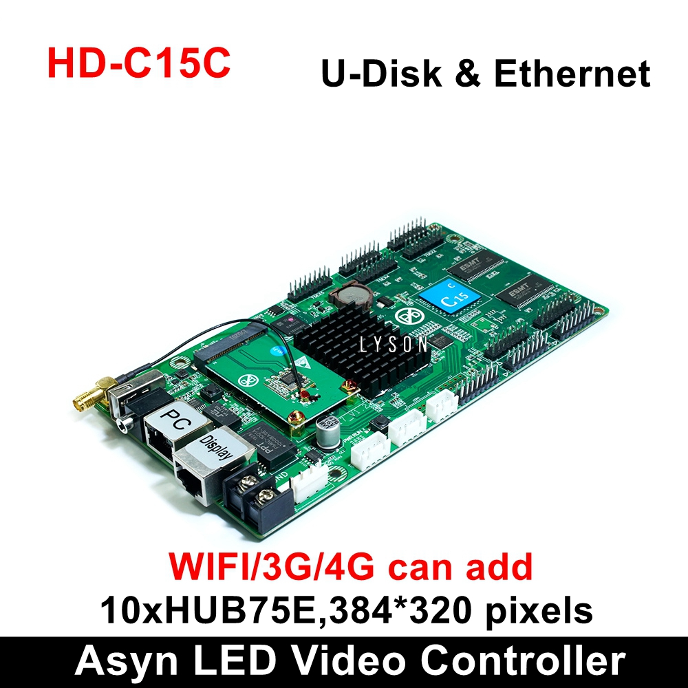 Huidu HD-C15C HD-C35C Asynchronous Indoor Outdoor LED Video Display Card Can Add 4G Wifi Brightness Temperature