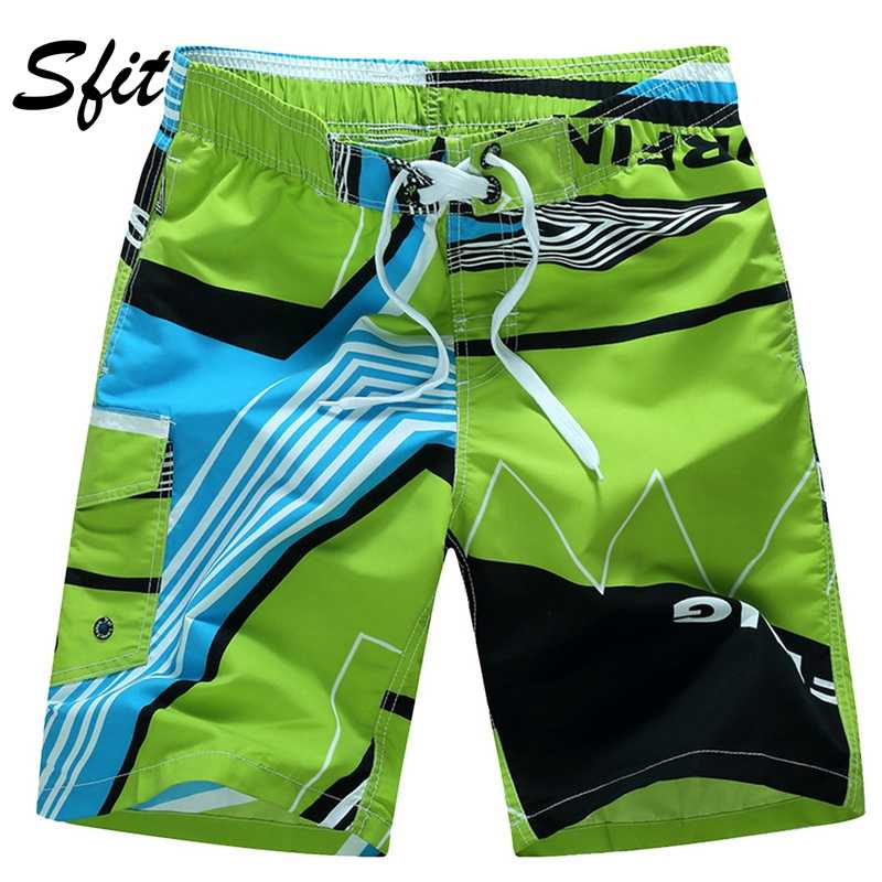 Sfit Men Beach Shorts Summer Swimming Trunks Male Swimwear Quick Dry Breathable Loose Print Elastic Casual Short Plus Size M-6XL