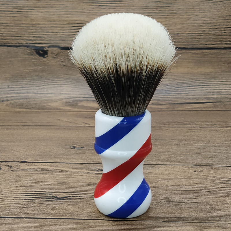 Dscosemtic 24mm Barber Pole SHD Gel Tip Two Band Badger Hair Knot Shaving Brush With Resin Handle