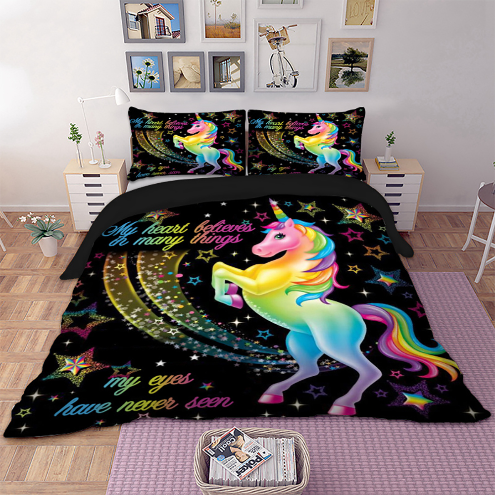 Denisroom Unicorn Bedding Set Double Bed Comforters Children's Bed Linen New Year Gift Duvet Cover Sets Twins Bedroom Set XY16#