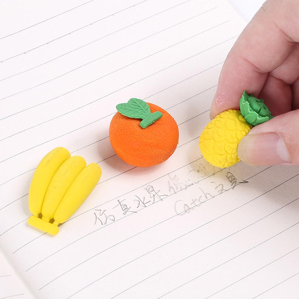 4Pcs Different Fruit Vegetable Shape Eraser Creative Stationery School Supplies
