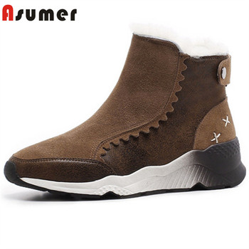 ASUMER 2020 new arrival suede leather ankle boots women top quality thick fur winter snow boots round toe flat shoes woman