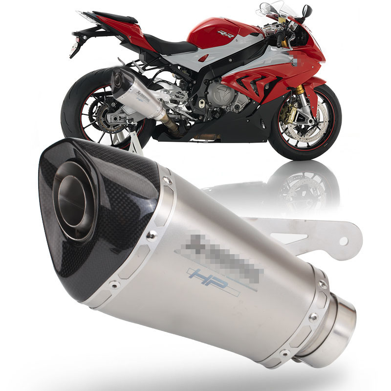 60mm Motorcycle Carbon Fiber Exhaust Muffler With DB Killer Laser Marking Slip on For S1000R S1000RR