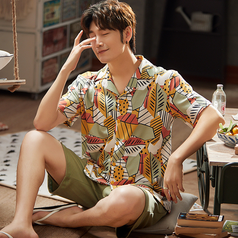 Men Pajamas Sets Print  Leisure Suit Soft Homewear Short Sleeve Tops & Shorts Cool Men Sleepwear Set  Pajama Short For Men
