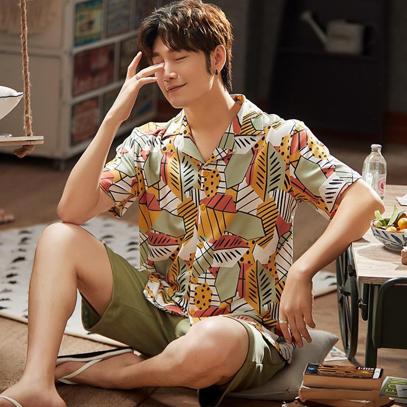 Men Pajamas Sets Print  Leisure Suit Soft Homewear Short Sleeve Tops & Shorts Cool Men Sleepwear Set  Pajama Short For Men