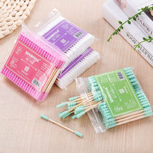 100pcs/ Pack Double Head Cotton Swab Health Care Tools Women Makeup Cotton Buds Tip For Medical Wood Sticks Ears Cleaning(China)