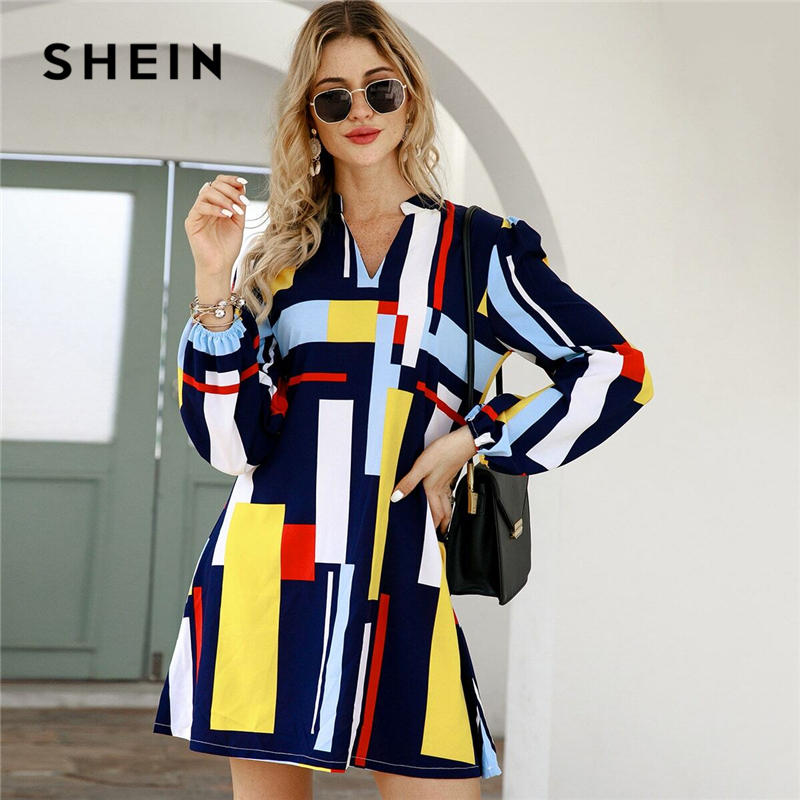 SHEIN Geometric Print Notched Collar Casual Shirt Dress Women Spring Street Wear Long Sleeve Ladies Straight Short Dresses