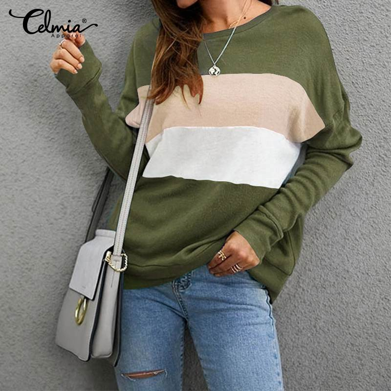 Autumn Winter Celmia Women Color Splicing Fashion Long Sleeve Female Sweatshirt Casual Loose Pullover Office Sport Jumpers 5XL 7
