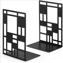 Grid Square Grid Metal Bookends Bookshelf Book Clip Book Support A Pair Of Price Bookend Stationery Bookmarks Simple Generous