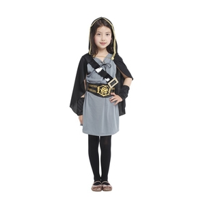 Image 4 - Детский костюм охотницы с капюшоном для девочек, средневековый Карнавальный костюм Рыцарь воин, вечерние костюмы для Хэллоуина