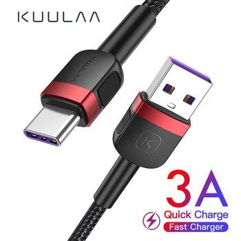 USB-кабель KUULAA Type-C для Xiaomi Mi Redmi Note 9, 8, 7, быстрая зарядка, быстрая зарядка для Samsung S9, кабель USBC,