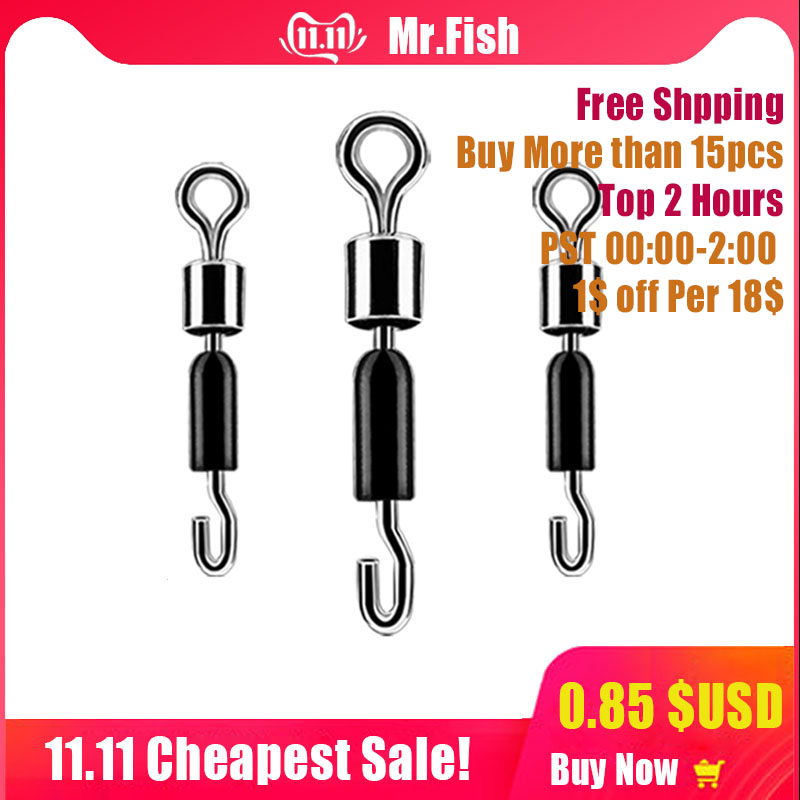 30PCS/Lot Ball Bearing Swivel Solid Rings Fishing Connector Ocean Boat Fishing Hooks Quick Fast Link Connector