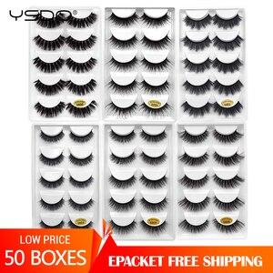 Image 1 - 50 상자 속눈썹 도매 밍크 스트립 속눈썹 자연 3d 밍크 속눈썹 가짜 cils 속눈썹 maquiagem 푹신한 거짓 속눈썹 g8