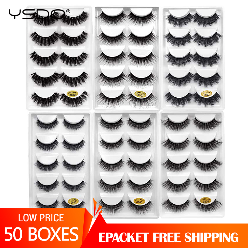50 Boxes eyelashes wholesale mink strip lashes natural 3d mink eyelashes faux cils eyelashes maquiagem fluffy false eyelashes G8-in False Eyelashes from Beauty & Health