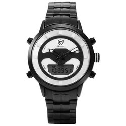 Shark Sport Men Watch White Outdoor Hiking Men Digital Date LCD Electronic Quartz Steel Band Watches Chronograph Clock/SH555