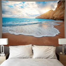 Beautiful beach sea waves dusk tapestry wallcovering art tapestry hippie wall hanging psychedelic beach towel polyester yoga janeyu new cosmos star velvet multifunctional polyester tapestry hanging beach towel