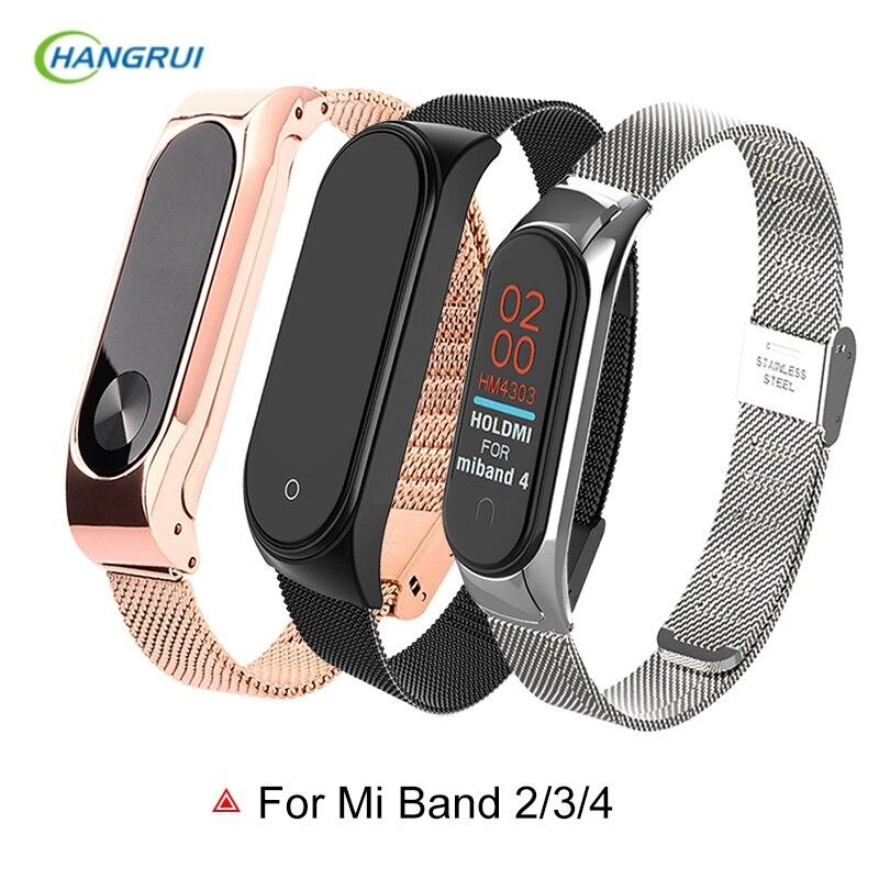 Metal Strap For Mi Band 4 Bracelet For Xiaomi Mi Band 3 4 Strap Nylon Smart Band Strap For Mi Band 2 Wristband Black Magnet