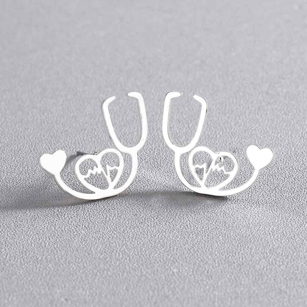 Chengxun Unik Stetoskop Stud Anting-Anting Romantis Anting-Anting Dokter Perawat Mendengar Detak Jantung Anda Hadiah untuk Pecinta