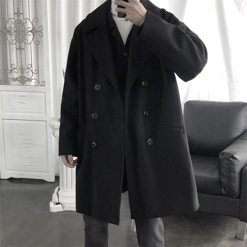Winter Thick Double-sided Woolen Coat Men's Fashion Solid Color V-neck Woolen Jacket Men Streetwear British Style Long Overcoat