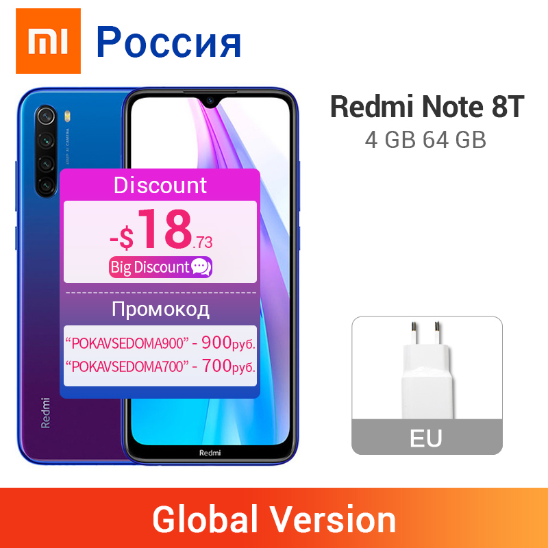 Globale Versione Xiaomi Redmi Nota 8 T 8 T 4GB 64GB Smartphone NFC Snapdragon 665 Octa Core 48MP quad Telecamere 4000mAh Grande Batteria