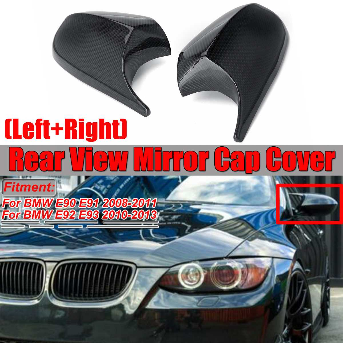 2PCS Real Carbon Fiber/ABS Mirror Cover E90 Car Rearview Mirror Cap Cover Direct Replace For BMW E90 E91 08-11 E92 E93 10-13 LCI
