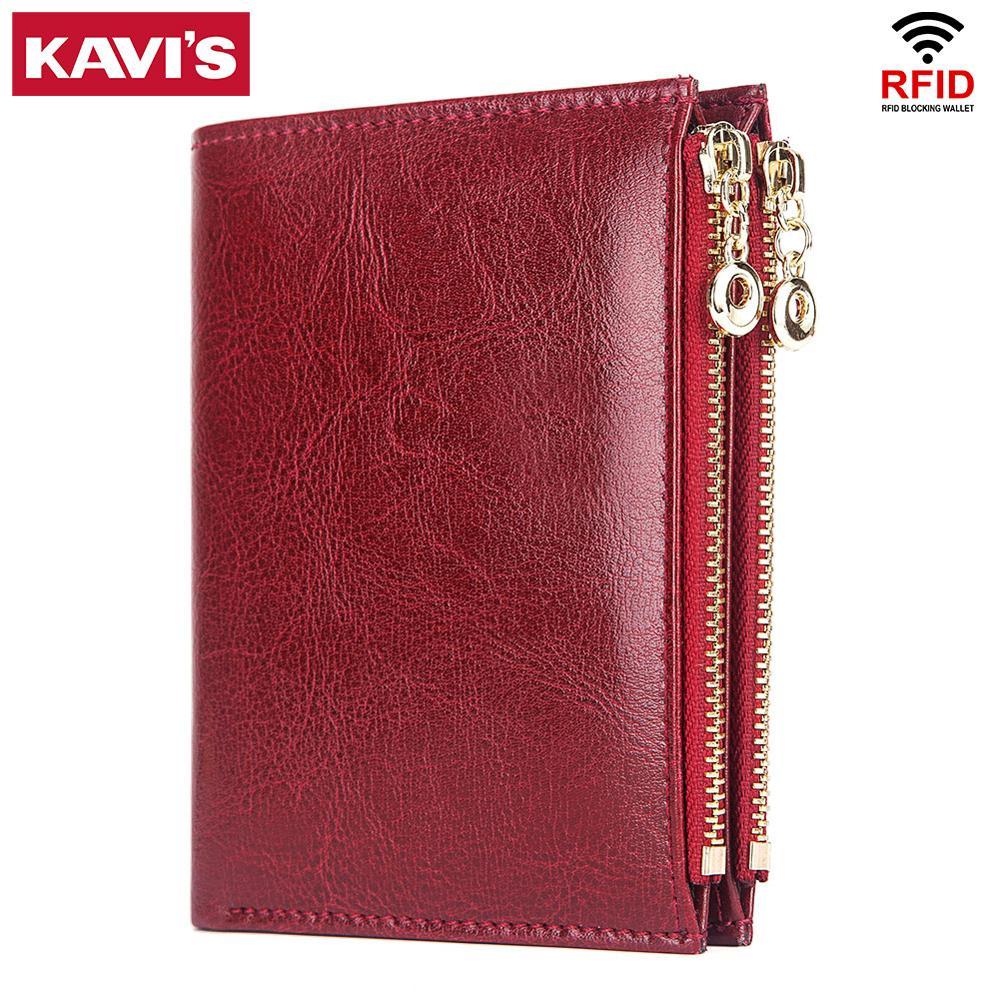 KAVIS 100% Genuine Leather Women Wallet Female Lady Walet Portomonee Rfid Brand Money Bag Magic Zipper Coin Purse For Girls