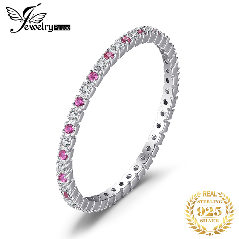 JewelryPalace Created Ruby Ring 925 Sterling Silver Rings For Women Wedding Rings Eternity Band Silver 925 Jewelry Fine Jewelry