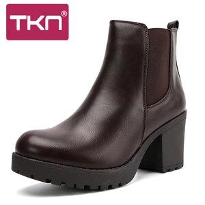 Image 2 - TKN véritable bottes femmes bottines hiver neige bottes en cuir véritable bottes pour femmes mode fermeture éclair chelsea bottes nouveauté 1902
