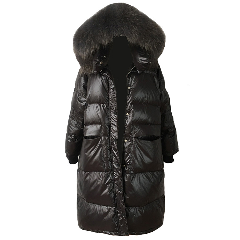 Loose Warm Korean Winter Women Puffer Long Down Coat With Real Fur Hood Female Feather Jacket For Girls Parka Coats Outerwear