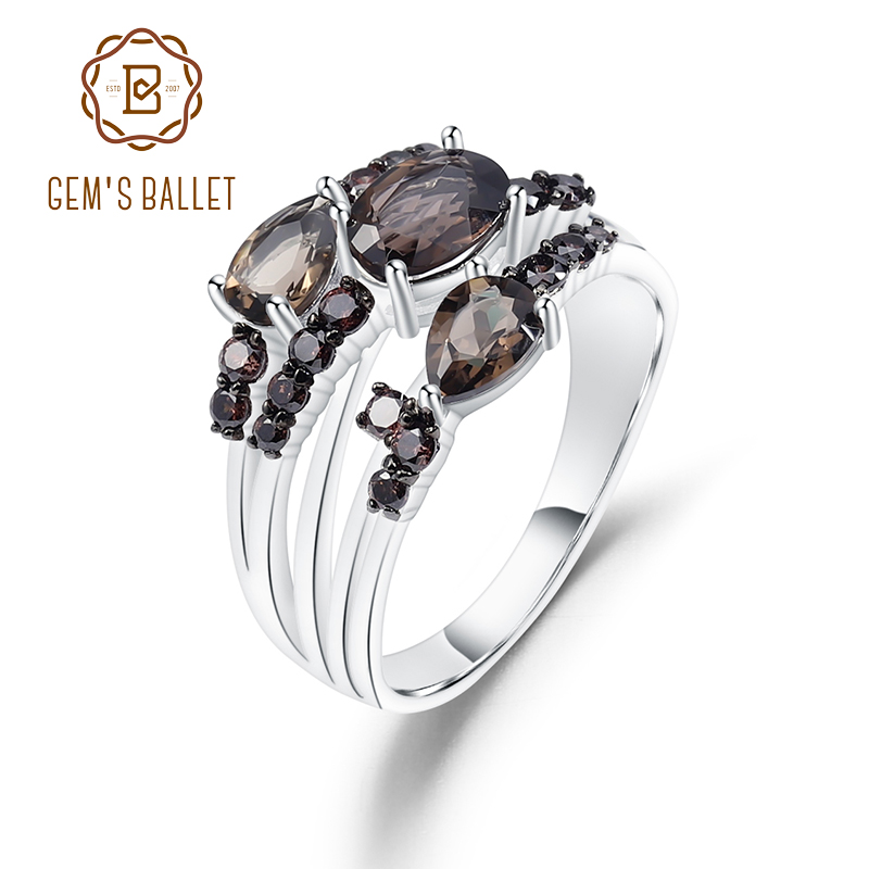 GEM'S BALLET 1.62Ct Natural Smoky Quartz Gemstone Rings 925 Sterling Silver Three Stone Band Ring For Women Fine Jewelry
