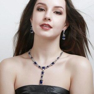 Image 5 - CWWZircons luksusowe długi dynda spadek ciemny niebieska cyrkonia sześcienna kobiet Party kolczyki naszyjnik biżuteria ślubna dla nowożeńców zestawy T356