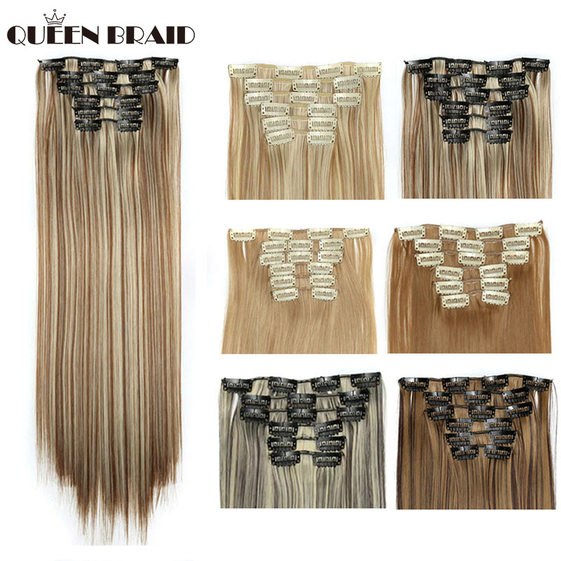 QUEEN BRAID Synthetic 16 Clips In Hair Extension For Women Silky Straight Long Blond Hair 22'' Heat Resistant 140G