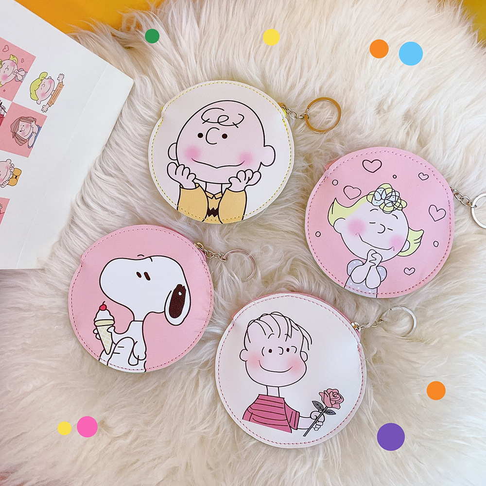 Kwaii Leather Coin Purse For Women Girls Cartoon Snoopy Round Keyring Money Change Pouch Kids Min Wallet